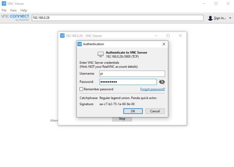 VNC authentication